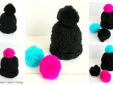 Bonnet en grosse laine (aiguilles numéro 7) avec pompons interchangeables (Woolen hat (needles number 7) with interchangeable pompoms)