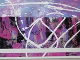 Peinture abstraite contemporaine acrylique rose violet blanc